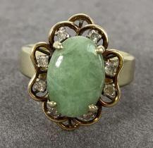 14K Yellow Gold, Jade and Diamond Ring