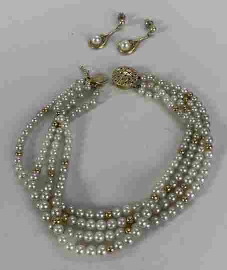 Pearl and 14K Bracelet, Pearl and Diamond Earrings