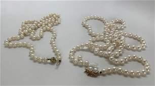 2 Vintage Cultured Pearl Necklaces 14K Gold