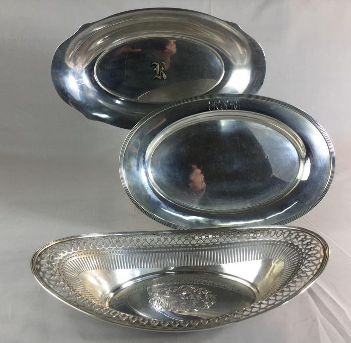 2 Sterling Silver Trays and 1 Pierced Basket