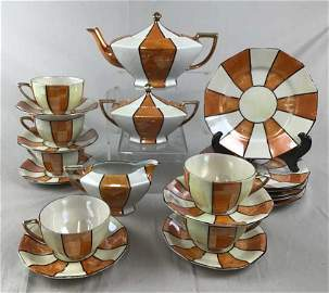 Art Deco Lustreware Tea Set Takito Co 1930s The Takito