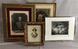 4 Framed 19th C Portrait Prints Includes an etching of