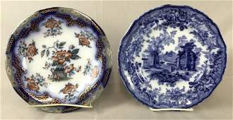 2 Antique English Flow Blue Plates Japonica The first