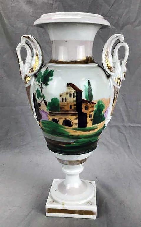 Old Paris Porcelain Hand-painted Empire Vase