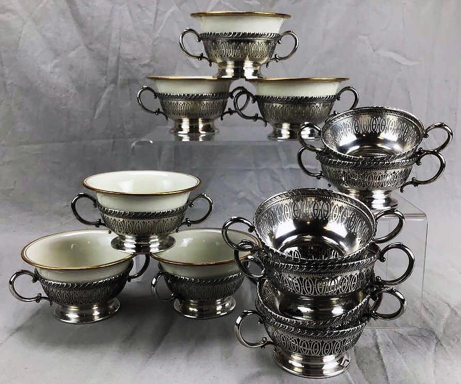 12 Pierced Sterling Bouillon Soup Bowl Holders