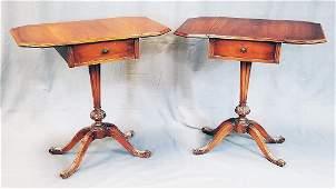 Pair 1930s Mahogany Drop Leaf Pedestal Tables