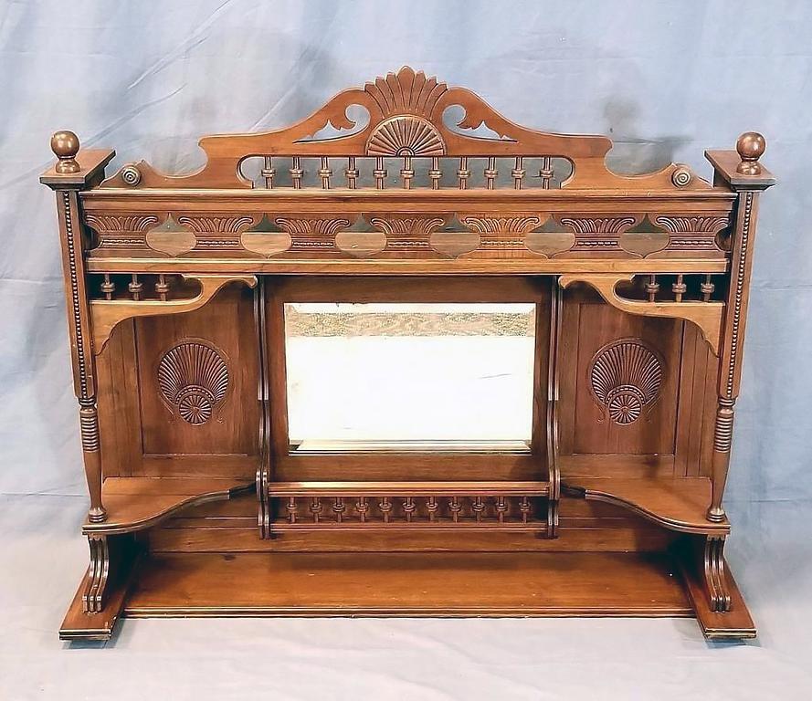 Ornate Victorian Mantle Top Curio Shelf Mirror