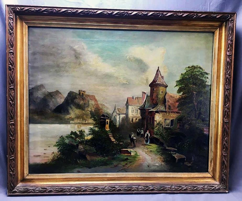 Victorian Oil on Canvas European Village Scene