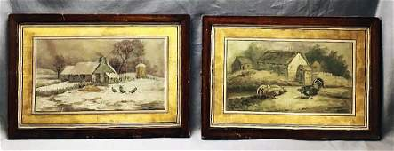 Pair 19th C. Oil on Canvas Farm Yard Scenes