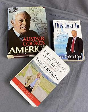 3 Signed Books - Brokaw, Schieffer, Cooke