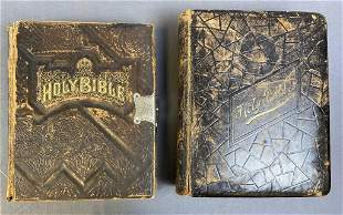 2 Large Antique Leather Bound Bibles 1882, 1888