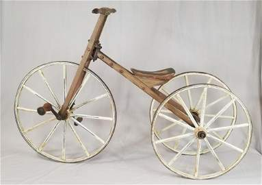 Mid 19th C. Large Wood Spoke Child's Tricycle