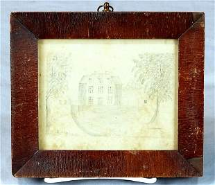 Early 19th C. Pencil Drawing Of 3 Story House