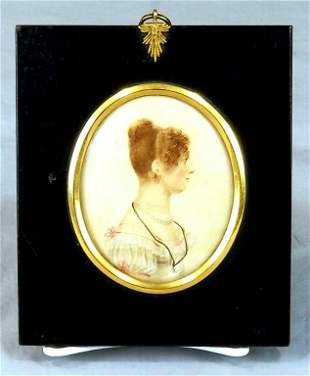 Early 19th C. Miniature Oval Watercolor Portrait