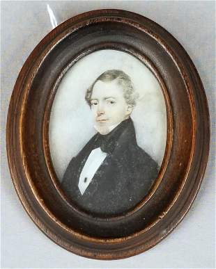 Early 19th C. Miniature Portrait Of A Gentleman