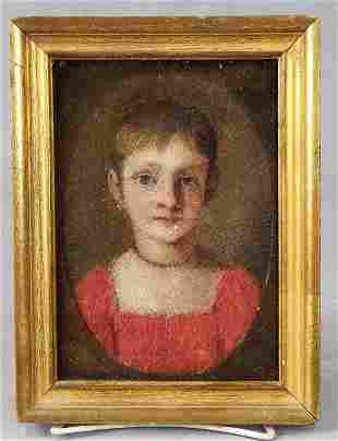 Early 19th C. Oil Portrait Of Young Girl