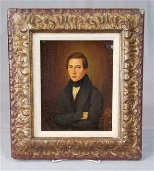 Early 19th C. Oil Portrait Of Young Man