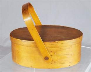 19th C. Shaker Swallow-Tail Oval Sewing Box