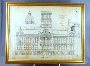 C/1886 Pen & Ink Drawing Muncie In Courthouse