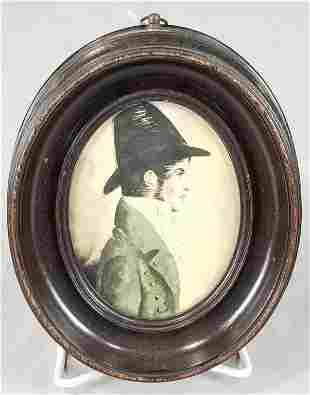 Early 19th C. Miniature Portrait Of Young Man