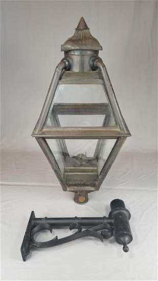 C/1880 Tin Kerosene Post Or Wall Lamp