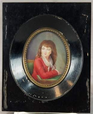 Mid 19th C. Watercolor Portrait Of Red Headed Lady