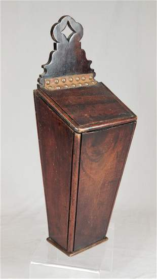 Early 19th C. Mahogany Wall Pipe Box