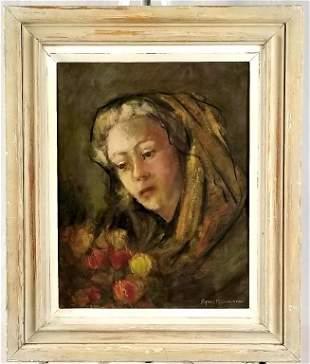 C/1940 Oil Portrait Of Lady By Agnes M. Lindemann