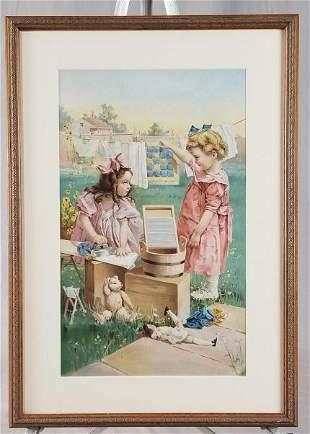 C/1910 Chromolitho Of 2 Girls Doing Laundry