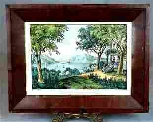 """C/1870 Currier & Ives """"View On Hudson River"""""""