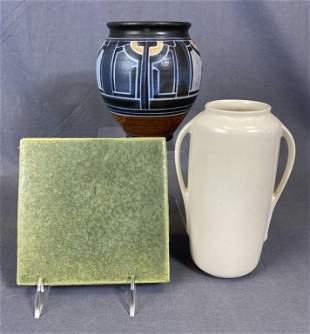 3 Pieces 20th C. Art Pottery - Flint Faience Tile
