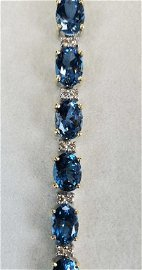 14KT Yellow Gold Blue Topaz & Diamond Bracelet