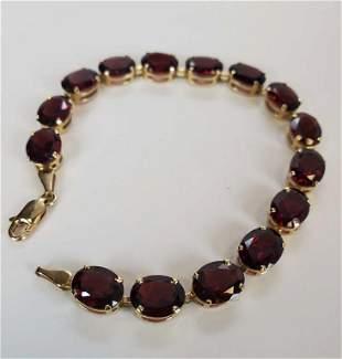 "14KT Yellow Gold 7"" Garnet Bracelet"