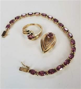 Pink Tourmaline 14kt Bracelet Pendant Ring Lot