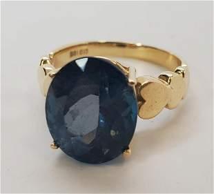 Women's 10KTYG Blue Topaz Ring Size 6.5
