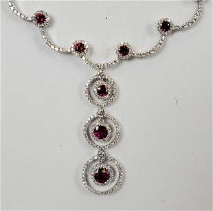18KT White Gold Diamond And Ruby Drop Necklace