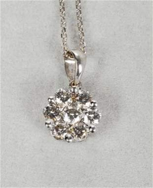 18KT White Gold Diamond Cluster Necklace