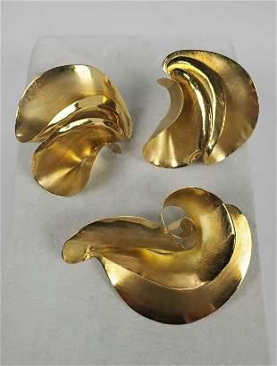 18KTYG J.Galriel Pierced Earrings And Brooch