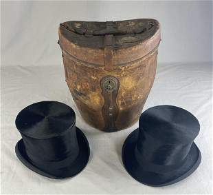 C.1870 French Dbl. Hat Case W/ 2 English Top Hats