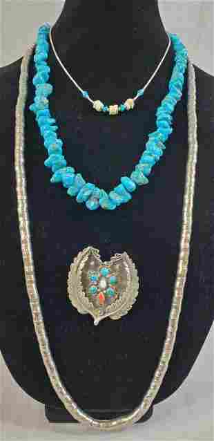 Native American Sterling And Turquoise Lot Of 4