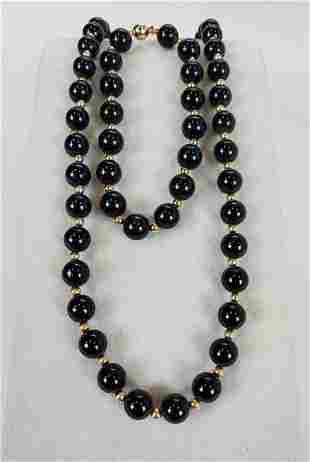 Onyx & 14KTYG Beaded Necklace With Bracelet