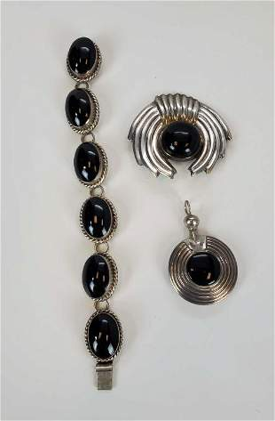 Sterling Silver And Onyx Jewelry Lot Of 3