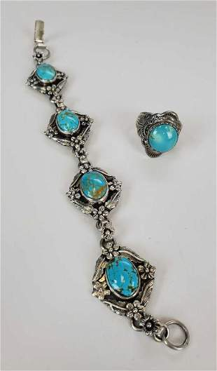 Turquoise Sterling Silver Bracelet And Ring