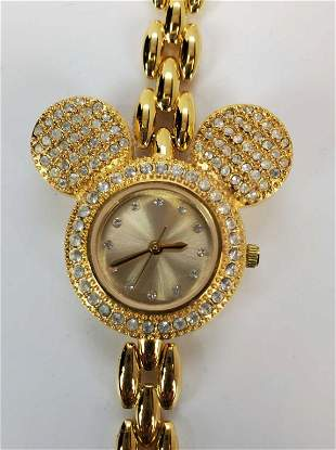 Micky Mouse Watch Gold Tone With Rhinestones