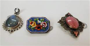 Antique & Vintage Brooch And Pendant Lot Of 3