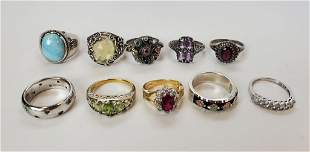 Sterling Silver Rings Lot Of 10