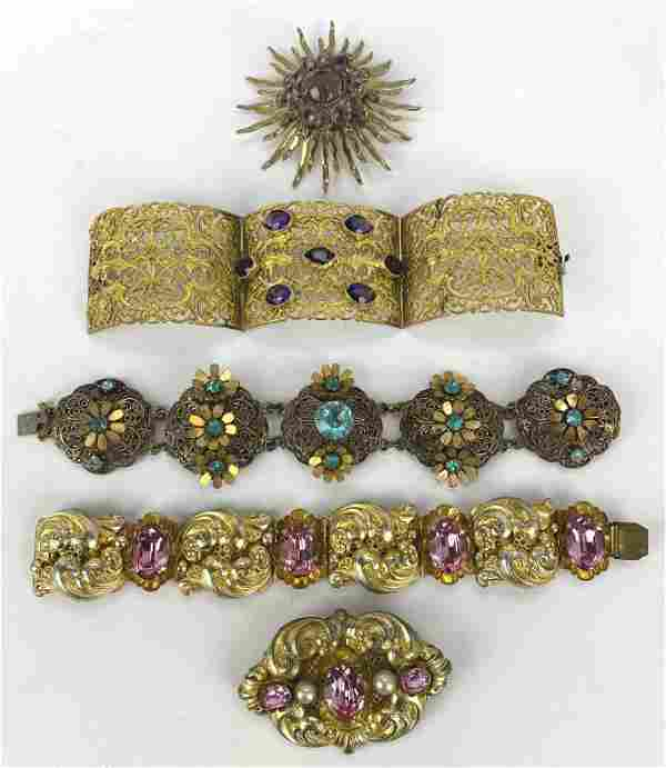 Group of Vintage 1930s-40s Jewelry, Filigree,
