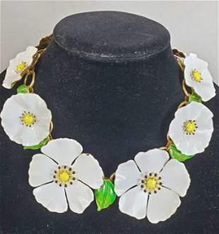 Vintage Large Floral Necklace Original by Robert
