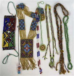 Eight Vintage Native American Seed Bead Necklaces