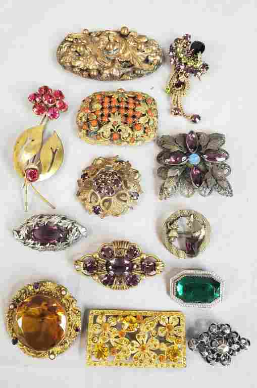 Victorian Brooches Lot Of 13